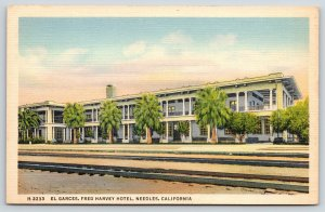 Needles California~El Carces Fred Harvey Hotel Across the RR Tracks~1937 Linen