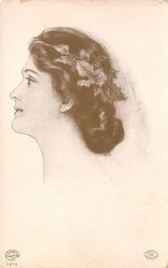 C Allan Gilbert~Head Study~Beautiful Woman Profile~Holly in Hair~Detroit Pub Co