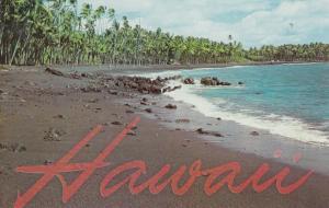 KALAPANA, Puna District, Hawaii, 1940-1960s; Scenic View, Black Sand Beach