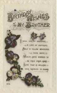 Birthday Wishes To My Brother Vintage RPPC Postcard