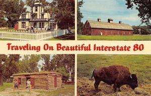 Nebraska~Interstate 80 Banner Greetings~Buffalo Bill's Scouts Rest Ranch~1960s