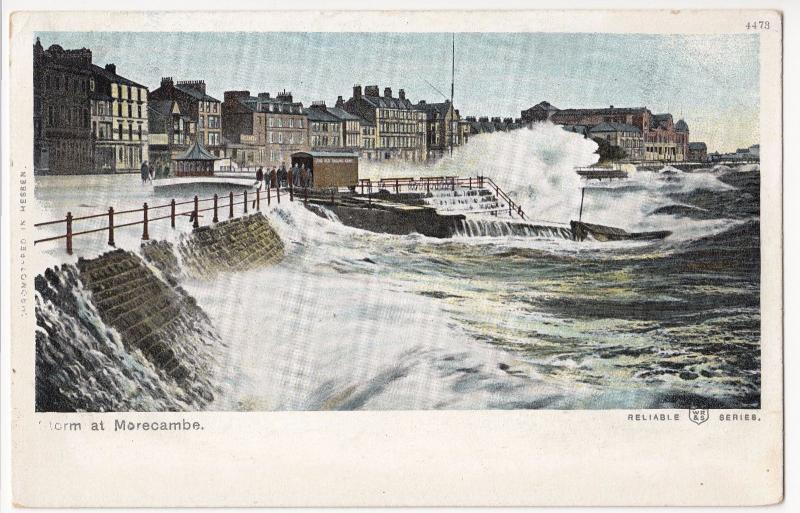 Lancashire; Storm at Morecambe PPC, Unposted c 1910's