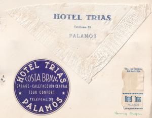 Hotel Trias Palamos Sugar Drinks Mat Costa Brava Spain Serviette Ephemera