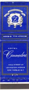 New York, NY Matchcover, Hotel Commodore, Lexington Avenue