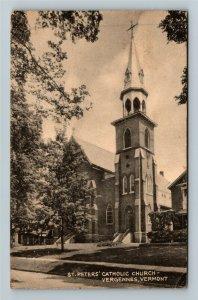 Vergennes VT-Vermont, St Peters Catholic Church, Vintage c1947 Postcard