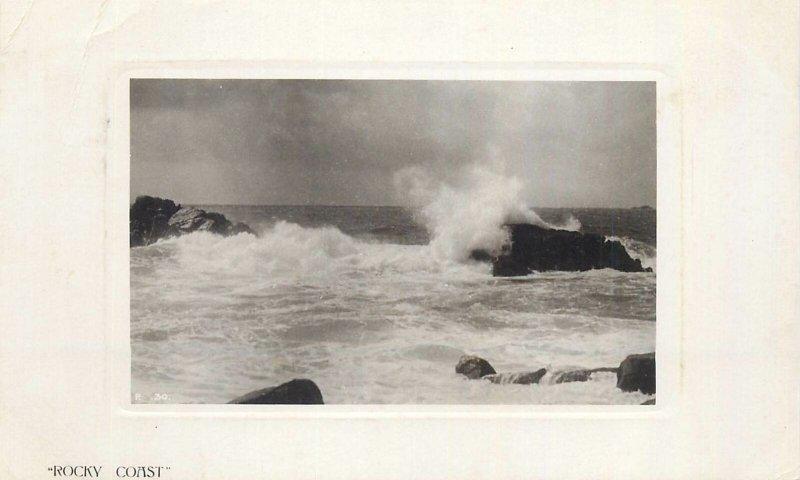 Postcard British rocky coast rocks waves sea-side ocean clouds nature waves