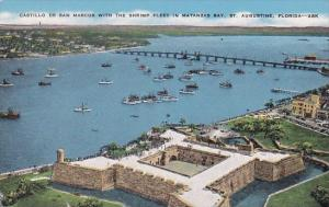 Florida Saint Augustine Castillo De San Marcos With The Shrimp Fleet In Matan...