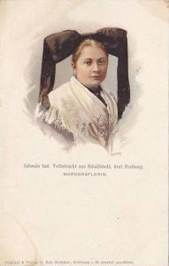 Portrait of woman wearing a big black head bow, Lebande bad aus schallstadt, ...