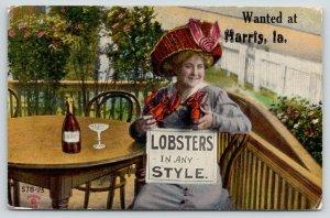 Lobsters Wanted by Lady in Harris Iowa~Dry Wine Bottle~Sender on Wagon~1911