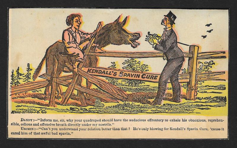 VICTORIAN TRADE CARD Kendalls Spavin Cure Dandy, Farmer & Donkey at Fence