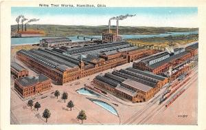 A36/ Hamilton Ohio Postcard c1910 Niles Tool Works Factory Railroad Birdseye