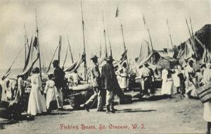 st. vincent, W.I., Fishing Boats in the Harbouw (1910s)