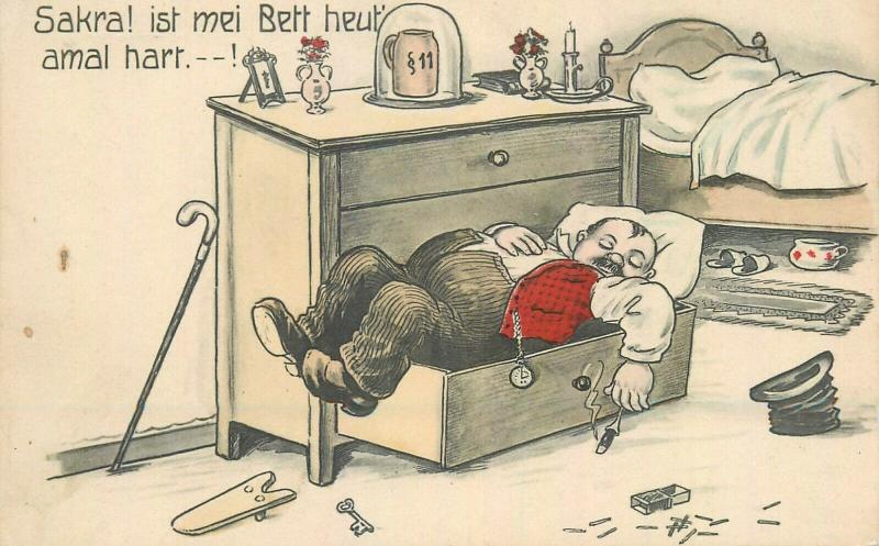 Humour Germany drunk man cigar caricature hard on my bed today comic postcard