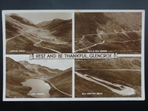 Argyll GLENCROE 4 Image Multiview OLD & NEW ROAD, HAIR-PIN BEND c1950 RP PC
