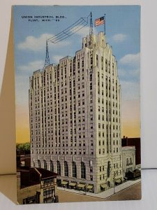 Vintage Postcard Union Industrial Building Flint Michigan linen unposted