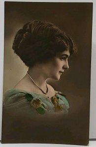 RPPC Beautiful Woman Side Profile Portrait Photo European c1920 Postcard H16
