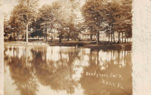 LPS39 Kane Pennsylvania Evergreen Park Lake Postcard RPPC
