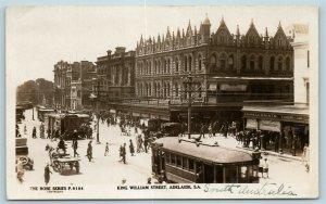 Postcard Southern Australia Adelaide King William Street Trolley Cars RPPC AD6