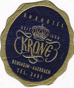 Germany Bensheim Auerbach Kurhotel Krone Vintage Luggage Label sk3208