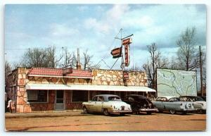 Postcard MO Camdenton Adams Cafe Restaurant 1950's Old Cars Ozarks B29