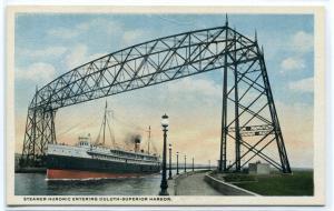 Steamer Huronic Lift Bridge Duluth Superior Harbor Minnesota 1920s postcard
