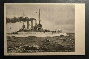 Mint Vintage Battleship Misssouri Built at Newport News VA RPPC