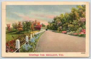 Brillion Wisconsin~Car on Rural Rd Into Town~Rail Posts~Linen Greetings~1940s