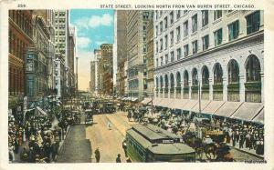 1920s Chicago Illinois State Street Van Buren Trolleys Rigot postcard 8429
