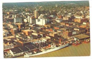 An aerial view looking northwest over the downtown business section,Mobile,Al...