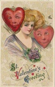 John Winsch 1912, VALENTINE ; Samuel Schmucker : Woman & 2 Hearts