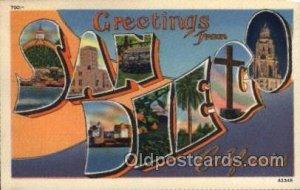 San Diego, CA Large Letter Town Unused light paper glued on back corners, cor...