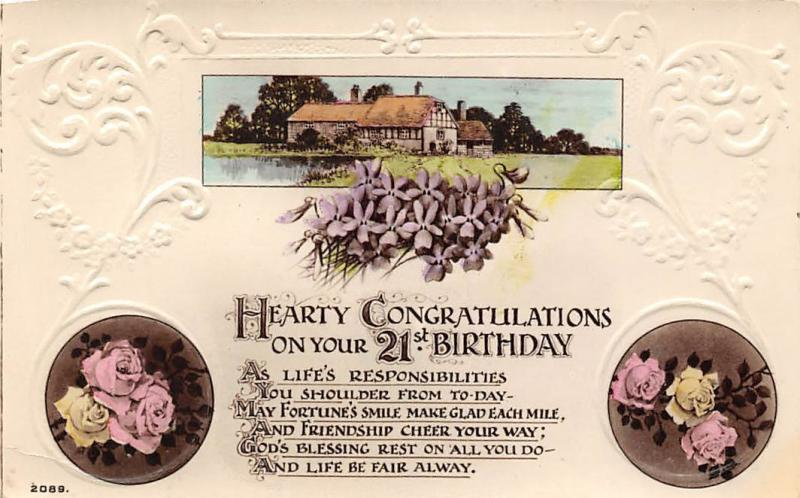 Hearty Congratulations on your 21st Birthday roses / HipPostcard