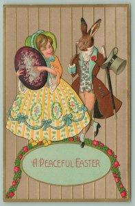 Easter Fantasy~Elegant Dressed Rabbit~Top Hat Cane~Belle & Purple Egg~Rotograph