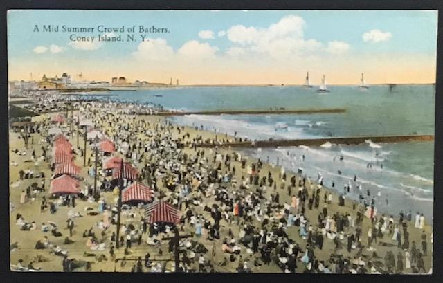 A Mid Summer Crowd of Bathers Coney Island NY 1924 Photo & Art Postal Card Co