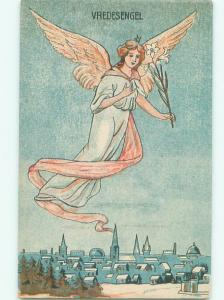 foreign c1910 PRETTY GERMAN ANGEL FLYING OVER THE TOWN AB8012