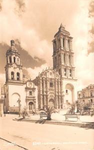Mexico Old Vintage Antique Post Card Catedral Saltillo Real Photo, Unused