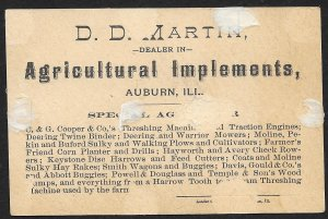 VICTORIAN TRADE CARD Martin Agricultural Implements Cats Fighting Over Garden