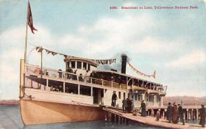 Yellowstone Natl Park Wyoming Steamboat On Lake Antique Postcard K97366