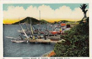 ST. THOMAS, Virgin Islands, 1910-20s; Tortola Wharf, Sail Boats