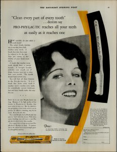 1927 Prophylactic Tooth Brush Women Smiling White Teeth Vintage Print Ad 3898