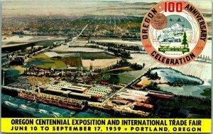 1959 OREGON CENTENNIAL EXPOSITION Postcard Aerial Fair Grounds View - Unused