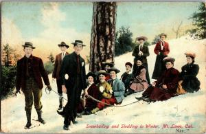 Snowballing and Sledding in Winter, Mt. Lowe CA Vintage Postcard P23