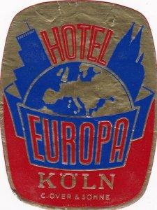 Germany Koeln Hotel Europa Vintage Luggage Label sk3068