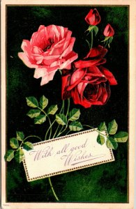 WITH ALL GOOD WISHES - ROSES FLOWERS - VINTAGE POSTCARD - 1908