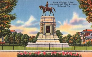 Statue Of Robert Lee Richmond Virginia Old Linen Postcard
