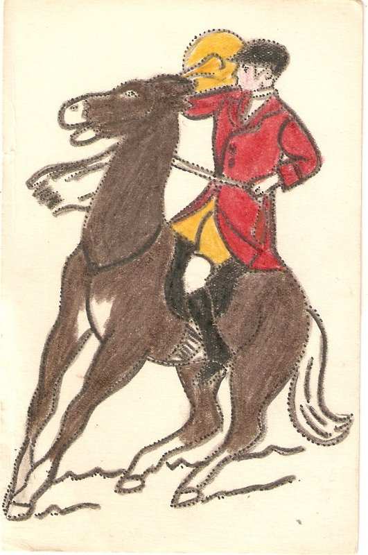 Rider  in his horse Old vintage French postcard