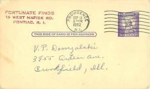 1962 Pontiac, Rhode Island Fortunate Finds Bookstore Ad Postcard