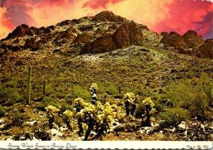 Arizona Desert Scene Rare Winter Snowfall and Stormy Sunset