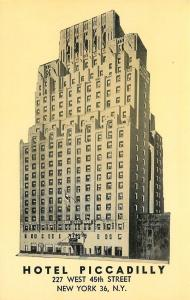 New York City~Hotel Piccadilly Silhouette~227 West 45th Street~1950s Postcard