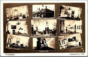 Philadelphia PA RPPC Real Photo Postcard INDEPENDENCE HALL Multi-View c1936